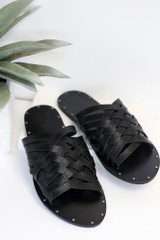 Flat Lay of the Braided Sandals