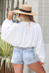 Textured Satin Blouse in White Back View