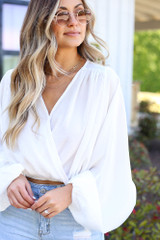 Textured Satin Blouse in White Front View