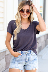 Charcoal - Model wearing the Soft Knit Tee with denim shorts
