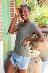 Soft Knit Tee in Olive Side View