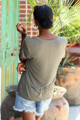Soft Knit Tee in Olive Back View