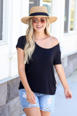 Soft Knit Tee in Black Front View