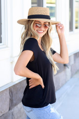 Soft Knit Tee in Black Side View