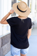 Soft Knit Tee in Black Back View