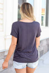 Soft Knit Tee in Charcoal Back View