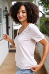 Ultra Soft Tee in Taupe Side View