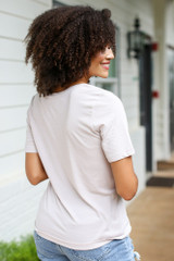 Ultra Soft Tee in Taupe Back View