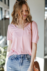 Blush - Model wearing the Ultra Soft Tee with denim shorts