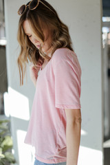 Ultra Soft Tee in Blush Side View