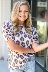 Blush - Puff Sleeve Leopard Top from Dress Up