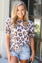 Dress Up model wearing the Puff Sleeve Leopard Top