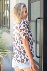 Puff Sleeve Leopard Top Side View
