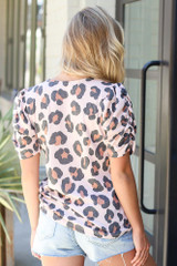 Puff Sleeve Leopard Top Back View