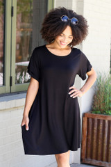 Black - Ruffle Sleeve Dress