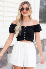 Black - Button Front Crop Top from Dress Up