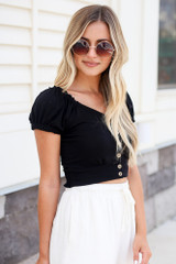 Button Front Crop Top in Black Side View