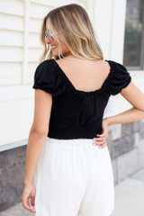 Button Front Crop Top in Black Back View