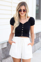 Button Front Crop Top in Black Front View