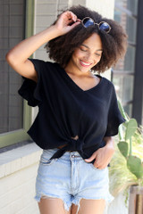 Black - Knotted Top