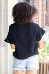 Knotted Top in Black Back View