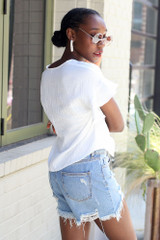 Knotted Top in White Back View