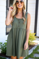 up close cute babydoll dress in olive