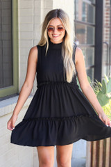 Black - High Neck Tiered Dress from Dress Up