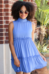 Blue - Model wearing the High Neck Tiered Dress