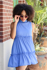 Blue - Dress Up model wearing the High Neck Tiered Dress