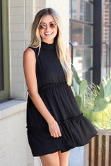 High Neck Tiered Dress in Black Front View