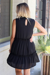 High Neck Tiered Dress in Black Back View