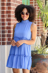 High Neck Tiered Dress in Blue Front View