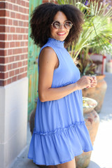 High Neck Tiered Dress in Blue Side View