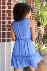 High Neck Tiered Dress in Blue Back View