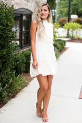 High Neck Tiered Dress in Ivory Front View