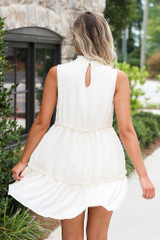 Dress Up model wearing white High Neck Tiered Dress in Ivory