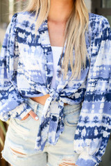 Blue - Close Up of the Tie-Dye Tie-Front Blouse