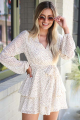 Ivory - Spotted Tiered Romper