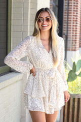 Model wearing the Spotted Tiered Romper