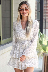 Spotted Tiered Romper Front View