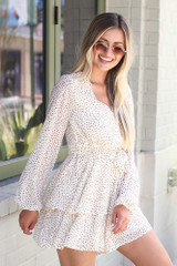 Spotted Tiered Romper Side View