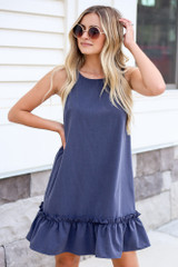 Navy - Pinafore Ruffle Dress