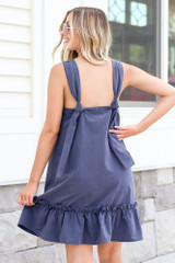 Navy - Pinafore Ruffle Dress Back View