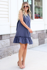 Model wearing the Pinafore Ruffle Dress