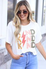 Model wearing the Kind Graphic Tee