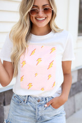 White - Lightning Bolt Graphic Tee from Dress Up