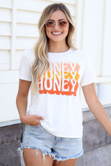 Dress Up model wearing the Honey Graphic Tee