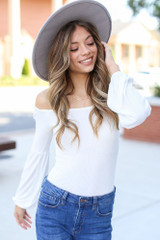 Off-the-Shoulder Top in White Front View