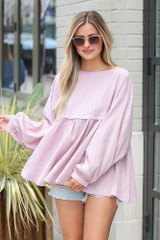 Mauve - babydoll top styled with distressed denim shorts